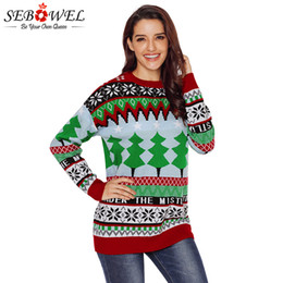a7816ef41a SEBOWEL Women Christmas Sweater Knitted Pullover Sweater Jumper with  Christmas Trees Plus Size 2018 Winter Female Xmas Sweaters