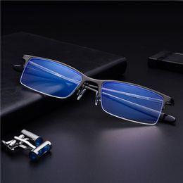 $enCountryForm.capitalKeyWord NZ - men's half frame Fashion Blue Light Blocking Glasses protection blocking glasses Square Anti eye fatigue Computer goggles FML