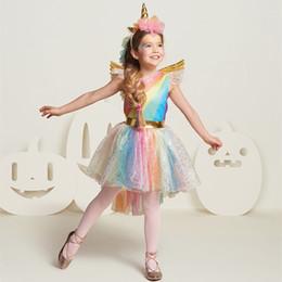 Wings Children Set Australia - Kids Rainbow Unicorn Dress For Girls Cosplay Prom Costume Children Princess Lace Dresses Hair Hoop Wing Set Halloween Party Tutu J190514