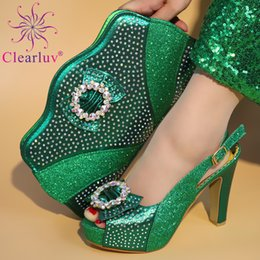 Green Italian Shoes NZ - Green Color Italian Shoes with Matching Bags for Women Woman Italian Shoe and Bags Set High Quality African Wedding Shoe and Bag