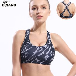 wholesale women camouflage clothing 2019 - BINAND Women Camouflage Print Sports Bra Cross Straps Sexy Back Seamless Gym Running Yoga Bra Push Up Simple Fitness Clo