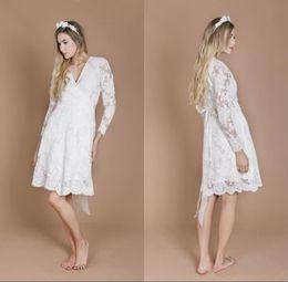 $enCountryForm.capitalKeyWord NZ - 2019 Long Sleeves Lace Short Wedding Dresses with Sash V Neck Bridal Gowns Knee Length Cheap Formal Dress