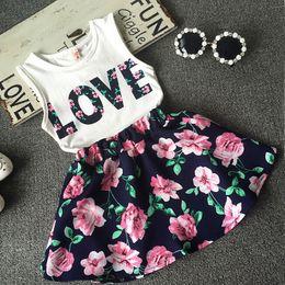 $enCountryForm.capitalKeyWord Australia - Summer baby girl clothes set children Love printed T-shirt+Floral Skirt 2pcs suit kids clothes set kids designer clothes girls JY291