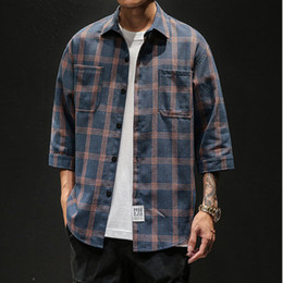 Casual Mens Three Quarter Shirt Japanese Streetwear Plaid Stripe Korean Shirt for Men Flannel Vintage Chemise Men Clothes