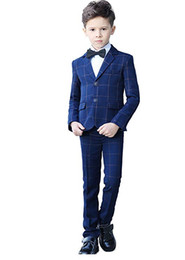 Blue Shirt For Wedding Australia - Fashion Slim Fit Plaid Boys Suits Notched Lapel 5 Pieces (Jacket+Pants+Vest+Shirt+Bow Tie) Kids Formal Tuxedos for Wedding Event Custom Made