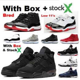 venda por atacado 2020 11s 4 SE 95 Cat Neon Black 4s Baixa Bred Concord 11 sapatos Valor Basquetebol azul Atacado Sneakers Com Box Space Jam