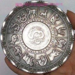 Großhandel Alter chinesischer Tibet-Silber Tierkreis-Tierstatuengeld Münzenreichtum