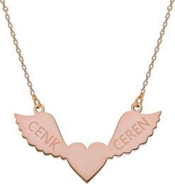special roses UK - Chavin Special 2 Named angel Angel Heart Name Necklace Silver Rose Gk010