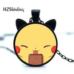 $enCountryForm.capitalKeyWord Australia - 2019 New Cartoon Cat Pendant Kawaii Cat Necklace Cat Face Jewelry Girls Glass Cabochon Squirrel Pendant