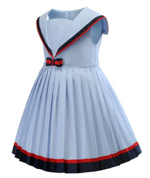 girls pleated skirts UK - Children's Skirt Summer 2019 New Naval Collar Academy Wind Girl's Dress, Pleated Skirt Girl Princess Skirt Tide
