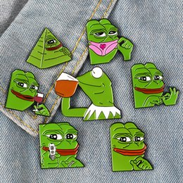 frog brooches Australia - Pepe The Frog Enamel Brooches Cute Cartoon Animal frog Funny Personalized Lapel badge Brooch Pin For Women Men Boy Girls Kid Jewelry