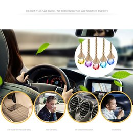 rear view mirror glasses NZ - 1pc Home Car Hanging Air Freshener Perfume Fragrance Diffuser Empty Glass Bottle Rear View Mirror Hanger Decoration