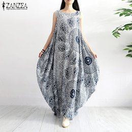 7d6426666d9d Zanzea Women Summer Sleeveless Maxi Long Dress Casual Floral Printed Loose  Vestido Robe Kaftan Cotton Linen Dresses Q190509