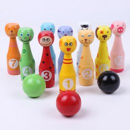 $enCountryForm.capitalKeyWord NZ - WOODEN MINI BOWLING BALL SET Cartoon Animal Shape Ball Game Kids Outdoor Sport Toys For Color Digital Cognition