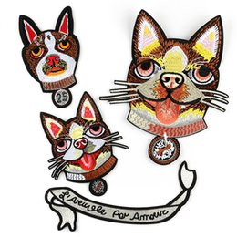 $enCountryForm.capitalKeyWord NZ - Dogs Embroidery Patches Cute Lovely Dog Fabric Sew Iron On Applique Patch Large Size Badge DIY Badges For Clothes Jeans Bag