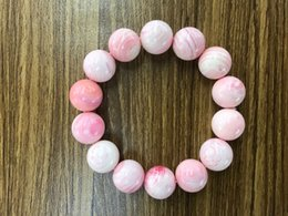 Tridacna beads online shopping - Fashion gorgeous woman wear Natural pink white Tridacna Round bead bracelet