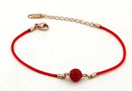 Mud Chains Australia - New full diamond transfer beads red rope rose gold bracelet tide women fashion mud drill beads jewelry gift