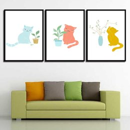 Art Canvas Prints Australia - Watercolor Picture Wall Art Cartoon Cat Planet Posters And HD Printed Nordic Canvas Painting Abstract Wedding Decoration