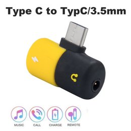 Function Connectors Australia - 2 in 1 Function Type C Pill Type Adapter With DC 3.5mm Connector for Android Phone Headphone