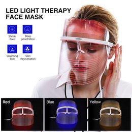 Yeni Buluş 3 Renk LED Işık Güzellik Yüz Maskesi Tedavisi Enstrüman Yüz SPA Tedavi Cihazı Anti Akne Kırışıklık Kaldırma indirimde