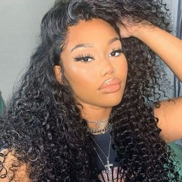 brazilian baby curl virgin hair NZ - Kinky Curly 13x6 Lace Front Human Hair Wigs Baby Hair Curl Full Lace Wig for Black Women 360 Lace Frontal Wigs Bleached Knots