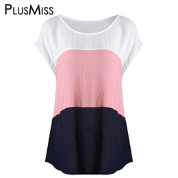 $enCountryForm.capitalKeyWord Australia - Plusmiss Plus Size 5xl 4xl Color Patchwork Casual T-shirt Women Big Size Loose T Shirt Ladies Short Sleeve Top Tees Summer 2018 Y19042501
