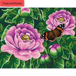 beautiful oil paintings single flower UK - Picture By Number Flowers Drawing On Canvas Handpainted Coloring Kits Art Gift Diy Oil Painting Home Decor Beautiful Painting By Numbers