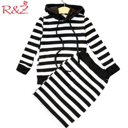 Hips Girl Australia - R&z 2017 New Autumn Girls Stripes Suit With Cap Tops + Skirt 2 Pieces Set Classic Style Package Hip Skirt Fashion Casual Sweater Y190518