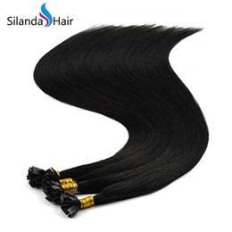 $enCountryForm.capitalKeyWord Australia - Silanda Hair Natural Black #1B Keratin Bonded Flat Tip Hot Fusion Remy Human Hair Extensions 1g s 24 Inch 100 strands pack Free Shipping