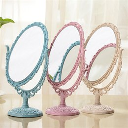 Mirrored Side Tables Wholesale Australia - Makeup Mirror Oval Shape Rotatable Stand Table Compact Mirror Plastic Dresser Pink Blue Beige Mirrors Cosmetic Tool 2 Sides