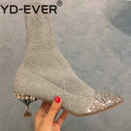 $enCountryForm.capitalKeyWord NZ - New Bling Silver Stitching Knitted Wool Rhinestone Pointed Thin Heel Sequined Short Boots Female Socks Boots Short Female