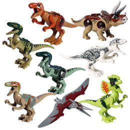 Jurassic block online shopping - Hot sale Jurassic Dinosaur Building Block Action Toy Figure Indoraptor Velociraptor Triceratop T Rex World Dino Brick