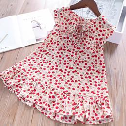Little Girls Dresses Ruffles Wholesale Australia - Girls Cherry Dot Chiffon Vest Dresses Summer 2019 Kids Boutique Clothing 2-7T Little Girls Sleeveless Ruffle Dresses High Quality