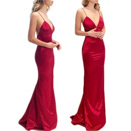 Red Maxi Backless Dress NZ - Ladies noble wine red summer party dress V-neck sexy sling backless halter evening maxi dress wholesale
