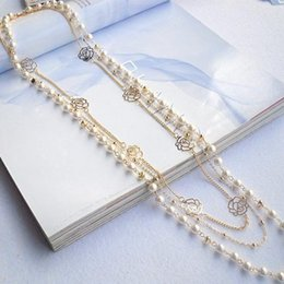 $enCountryForm.capitalKeyWord Australia - Cute Sweater Long Chain Pendant Multilayer Pearl Necklace Rose Flower Jewelry