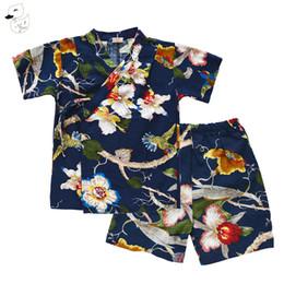 China wholesale Girls Boys Summer Kimono Clothes Set Belt Shirt+Pants Shorts Gauze Japanese Style Flower Printed For Baby suppliers