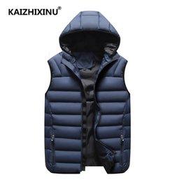 Fallen Hats Australia - Fall vest men's fashion removable hat, couples, sleeveless jacket, casual cotton cushion coat, men's winter vest plus size.