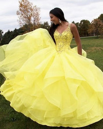 $enCountryForm.capitalKeyWord NZ - Ruffles Piping Yellow Quinceanera Dresses 2019 New Fashion V Neck Beading Sweet 16 Prom Ball Gown Teens 15 Years Dresses