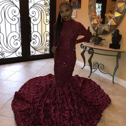 Mermaid Nude Crystal Australia - Sparkly Burgundy Mermaid Prom Dresses Long 2019 High Neck Long Sleeves 3d Flowers lace crystal Evening Gowns Robe De Soiree