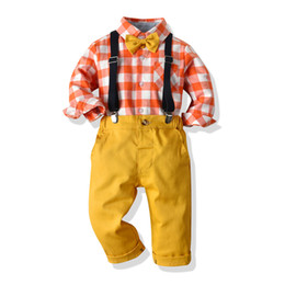 $enCountryForm.capitalKeyWord Australia - Baby Boy Clothes Boy Plaid bow Shirts with yellow Overalls 2019 Autumn Children Fashion Gentleman Sets kids casual outfits