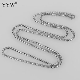 $enCountryForm.capitalKeyWord Australia - 2 3 3.5 4mm Stainless Steel Square Pearl Chain Necklace Women Link Chains Accessories DIY Jewelry Box Chain for Hand-made Men