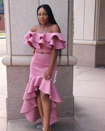 Girls size 12 red dresses online shopping - High Low Ruffles Prom Dresses Off Shoulder Two Piece Party Gowns African Black Girls Robe vestido de fiesta de gala
