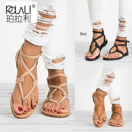 0c8323884cdb New Hot Women Sandals Gladiator Summer Shoe Female Casual Flat Heel Ankle  Strap For Women Rome Style Beach Shoes Plus Size 42 43