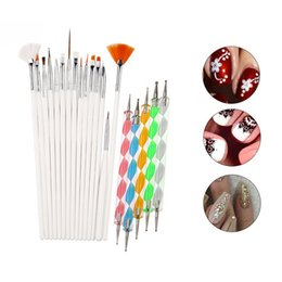 Wholesale Dropshipping Nail Art Brush Design Tips Painting Drawing Carving Dotting Pen Builder Flat Fan Liner Acrylic Gel UV Polish Tool Manicure