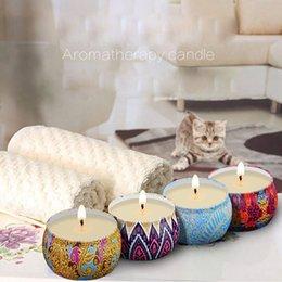 4 Pçs / set Scented Velas Copo Cera De Soja Natural Aromaterapia Velas com Caixa De Lata Pacote de Aniversário da Festa de Casamento Decoração em Promoção