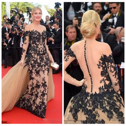 $enCountryForm.capitalKeyWord Australia - 2020 Sheer Long Sleeves Lace Appliques Celebrity Dresses 68th Cannes Film Festival Mermaid Evening Gowns Red Carpet Prom Party Gowns