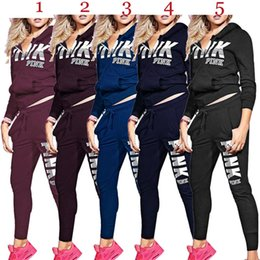 $enCountryForm.capitalKeyWord Australia - PINK Women Designer Two Piece Sets Hoodies+Leggings Jacket Outfits Bodycon Trousers Sweatsuit Pants Tracksuit Fall Winter HOT Selling 1167