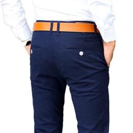 Pantalones casuales Hombres Primavera Vestido clásico elástico Slim Fit  Estiramiento Pantalones largos Hombre de negocios Pantalón caqui Negro Azul 033703a44702