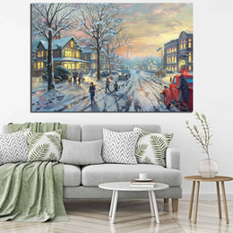 $enCountryForm.capitalKeyWord Australia - Thomas Kinkade's Painting Of A Christmas Story Posters and Prints Decorative Wall Art Pictures for Living Room Home Decoration