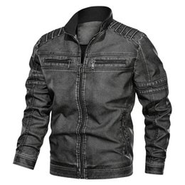 vintage clothing mens jackets NZ - Mens Designer Leather Jackets Fashion PU Vintage Luxury Jacket 2019 New Arrival Streetwear Leather Jacket with Zipper High Quality Clothing